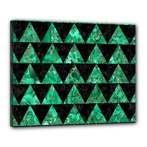 Triangle2 Black Marble & Green Marble Canvas 20  X 16  (stretched) by trendistuff