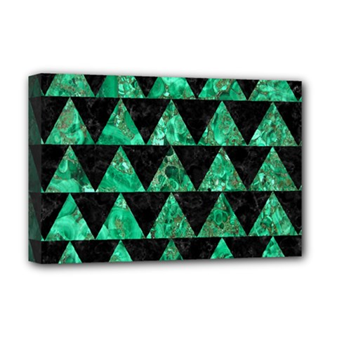 Triangle2 Black Marble & Green Marble Deluxe Canvas 18  X 12  (stretched) by trendistuff