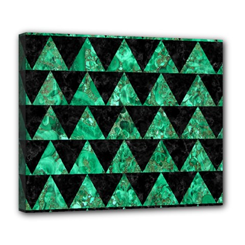 Triangle2 Black Marble & Green Marble Deluxe Canvas 24  X 20  (stretched) by trendistuff
