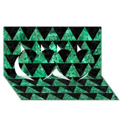 Triangle2 Black Marble & Green Marble Twin Hearts 3d Greeting Card (8x4) by trendistuff