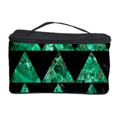 Triangle2 Black Marble & Green Marble Cosmetic Storage Case by trendistuff