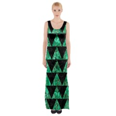 Triangle2 Black Marble & Green Marble Maxi Thigh Split Dress by trendistuff