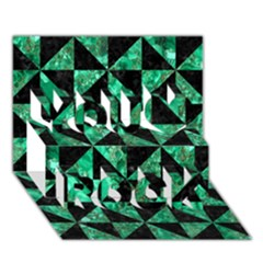 Triangle1 Black Marble & Green Marble You Rock 3d Greeting Card (7x5)