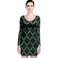 Tile1 Black Marble & Green Marble (r) Long Sleeve Velvet Bodycon Dress