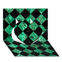 Square2 Black Marble & Green Marble Heart 3d Greeting Card (7x5) by trendistuff