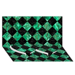 Square2 Black Marble & Green Marble Twin Heart Bottom 3d Greeting Card (8x4) by trendistuff