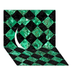 Square2 Black Marble & Green Marble Circle 3d Greeting Card (7x5) by trendistuff