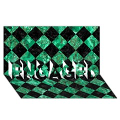 Square2 Black Marble & Green Marble Engaged 3d Greeting Card (8x4) by trendistuff