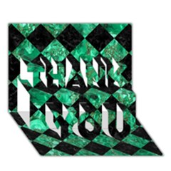 Square2 Black Marble & Green Marble Thank You 3d Greeting Card (7x5) by trendistuff
