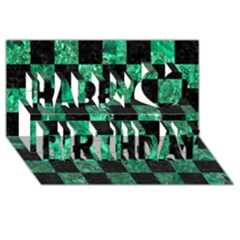 Square1 Black Marble & Green Marble Happy Birthday 3d Greeting Card (8x4) by trendistuff