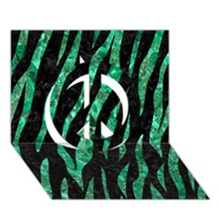 Skin3 Black Marble & Green Marble (r) Peace Sign 3d Greeting Card (7x5) by trendistuff