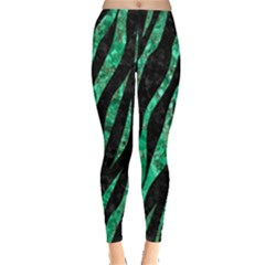 Skin3 Black Marble & Green Marble (r) Leggings  by trendistuff
