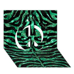 Skin2 Black Marble & Green Marble (r) Peace Sign 3d Greeting Card (7x5)