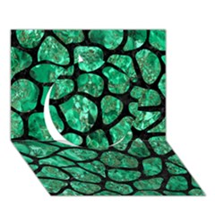 Skin1 Black Marble & Green Marble (r) Circle 3d Greeting Card (7x5) by trendistuff