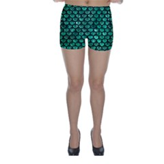 Scales3 Black Marble & Green Marble Skinny Shorts by trendistuff