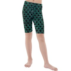 Scales2 Black Marble & Green Marble (r) Kids  Mid Length Swim Shorts by trendistuff