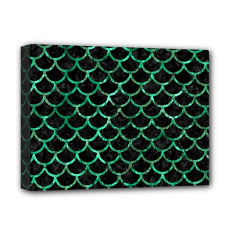Scales1 Black Marble & Green Marble (r) Deluxe Canvas 16  X 12  (stretched)  by trendistuff