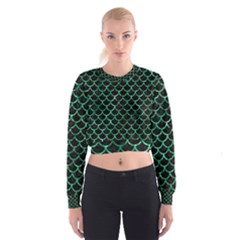 Scales1 Black Marble & Green Marble (r) Cropped Sweatshirt