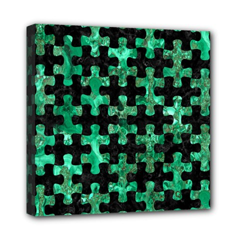 Puzzle1 Black Marble & Green Marble Mini Canvas 8  X 8  (stretched) by trendistuff
