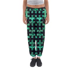 Puzzle1 Black Marble & Green Marble Women s Jogger Sweatpants by trendistuff