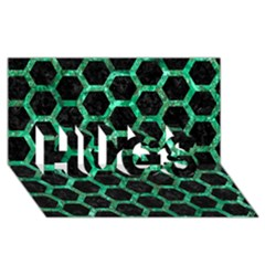 Hexagon2 Black Marble & Green Marble (r) Hugs 3d Greeting Card (8x4)