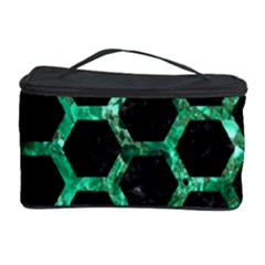 Hexagon2 Black Marble & Green Marble (r) Cosmetic Storage Case