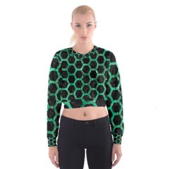 Hexagon2 Black Marble & Green Marble (r) Cropped Sweatshirt