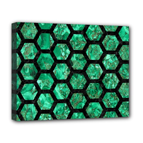 Hexagon2 Black Marble & Green Marble Deluxe Canvas 20  X 16  (stretched) by trendistuff