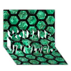 Hexagon2 Black Marble & Green Marble You Are Invited 3d Greeting Card (7x5) by trendistuff