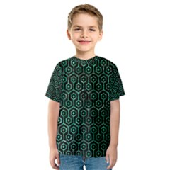 Hexagon1 Black Marble & Green Marble (r) Kids  Sport Mesh Tee by trendistuff