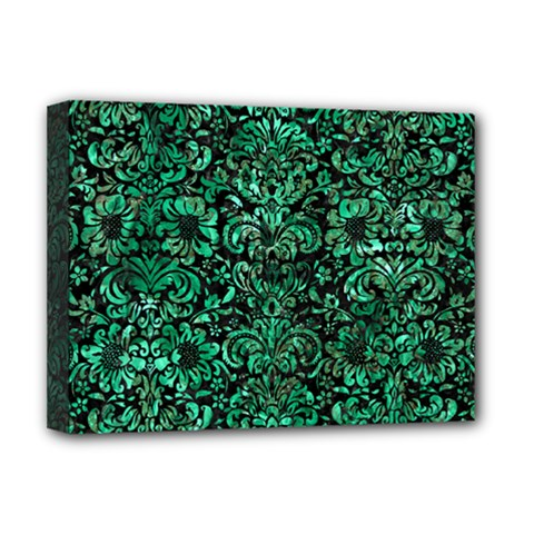 Damask2 Black Marble & Green Marble (r) Deluxe Canvas 16  X 12  (stretched)  by trendistuff