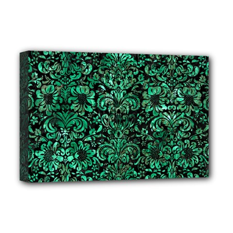 Damask2 Black Marble & Green Marble (r) Deluxe Canvas 18  X 12  (stretched) by trendistuff