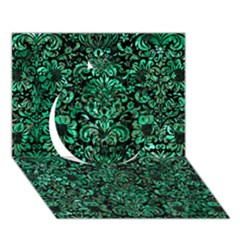 Damask2 Black Marble & Green Marble (r) Circle 3d Greeting Card (7x5) by trendistuff