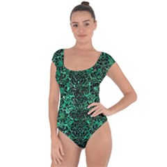 Damask2 Black Marble & Green Marble Short Sleeve Leotard