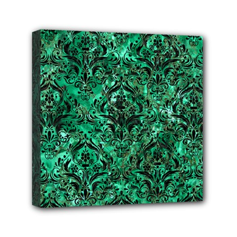 Damask1 Black Marble & Green Marble (r) Mini Canvas 6  X 6  (stretched) by trendistuff