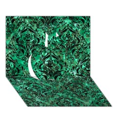Damask1 Black Marble & Green Marble (r) Apple 3d Greeting Card (7x5) by trendistuff