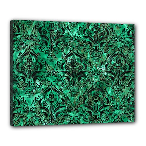 Damask1 Black Marble & Green Marble Canvas 20  X 16  (stretched) by trendistuff