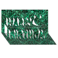 Damask1 Black Marble & Green Marble Happy Birthday 3d Greeting Card (8x4) by trendistuff
