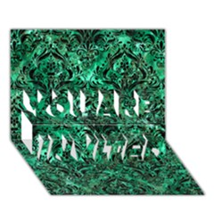 Damask1 Black Marble & Green Marble You Are Invited 3d Greeting Card (7x5) by trendistuff