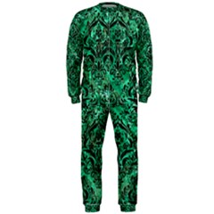 Damask1 Black Marble & Green Marble Onepiece Jumpsuit (men) by trendistuff