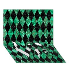 Diamond1 Black Marble & Green Marble Love Bottom 3d Greeting Card (7x5)
