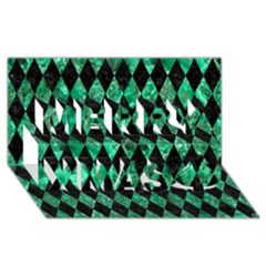 Diamond1 Black Marble & Green Marble Merry Xmas 3d Greeting Card (8x4) by trendistuff