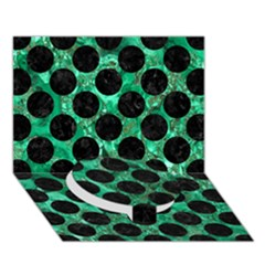 Circles2 Black Marble & Green Marble Circle Bottom 3d Greeting Card (7x5) by trendistuff