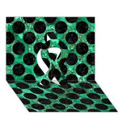 Circles2 Black Marble & Green Marble Ribbon 3d Greeting Card (7x5) by trendistuff