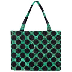 Circles2 Black Marble & Green Marble Mini Tote Bag by trendistuff