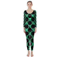 Circles2 Black Marble & Green Marble Long Sleeve Catsuit by trendistuff