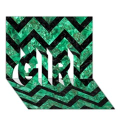 Chevron9 Black Marble & Green Marble (r) Girl 3d Greeting Card (7x5) by trendistuff