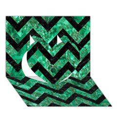 Chevron9 Black Marble & Green Marble (r) Heart 3d Greeting Card (7x5) by trendistuff