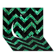 Chevron9 Black Marble & Green Marble Circle 3d Greeting Card (7x5) by trendistuff