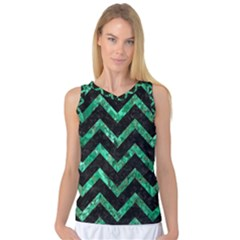 Chevron9 Black Marble & Green Marble Women s Basketball Tank Top by trendistuff
